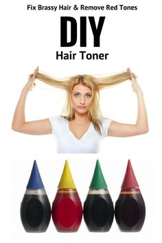 Hair Toner: Fix Brassy Hair with Food Coloring & remove unwanted tones using ingredients from your kitchen.DIY Hair Toner: Fix Brassy Hair with Food Coloring & remove unwanted tones using ingredients from your kitchen. Toner For Yellow Hair, Toner For Orange Hair, Tone Orange Hair, Brown Hair Toner, At Home Hair Toner, Diy Hair Toner, Diy Hair Dye, Diy Ombre Hair, Food Coloring Hair Dye