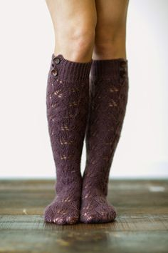 plum knitted boot socks (over the knee)