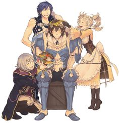 Chrom, Frederick, Liz, Mark, Morgan