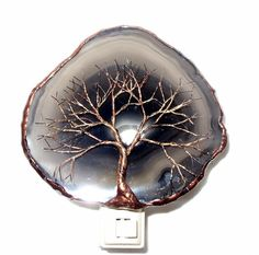 ✿ Inspiration ✿ ∙∙∙  Tree of Life.  Copper, Gold And Black Wire Tree Of Life Metal Art Sculpture Night Light On A Black, Grey and White Stone Crystal Agate Slice via Etsy
