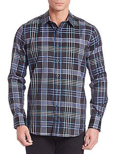 Robert Graham Lake Garda Plaid Casual Button-Down Shirt - Black - Size