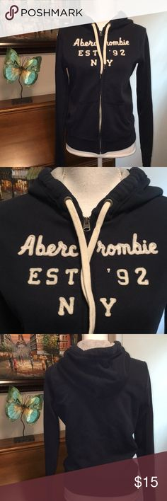 Abercrombie & Fitch zip up hoodie Armpit to armpit is 18 inches. Length from top of shoulder is 22 1/2 inches. Runs small. Very soft and comfy. It's in very nice condition. Abercrombie & Fitch Tops