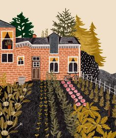 House and garden illustration