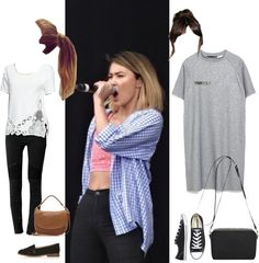 E-B-neon jungle concert by onedirectionnhllz featuring crossbody handbags ❤ liked on Polyvore Zara tshirt dress / Free People scoop neck tee / AllSaints clothing, $155 / Topshop black shoes / Converse...