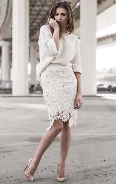 Off white oversized knit, off white laser cut lace pencil skirt, and rose gold heels