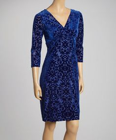 Loving this Royal Damask V-Neck Dress - Women on #zulily! #zulilyfinds Love the material; dress just needs to be a little longer.