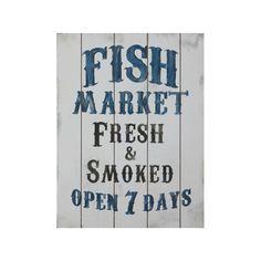Mdf Fish Market Wall Plaque - 3R Studios, Grey