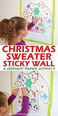 Christmas Sweater St Christmas Sweater Sticky Wall HAPPY TODDLER PLAYTIME Christmas sweater sticky wall is an amazing activity for toddlers preschoolers and kindergartners. Keep them happy and engaged and work on fine motor skills! Christmas Activities For Toddlers, Winter Crafts For Kids, Art For Toddlers, Winter Kids, Winter Holidays, Toddler Christmas, Christmas Fun, Outdoor Christmas, Christmas Presents