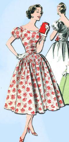 1950s Vintage Advance Sewing Pattern 8301 Uncut Misses Cocktail Dress Sz 12 32B #Advance #CocktailDressPattern