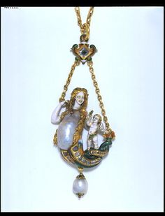Enamel, Gold, Diamond, Pearl And Ruby Necklace - French  c.1890  The Victoria & Albert Museum