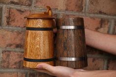 Lot of 2 wooden Beer Mug 0.7 l (23oz), natural wood, handmade, groomsmen gift, Father's day, beer tankard, Dad, grooms gift , husband gift
