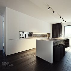 tamizo architects group added a new photo. Kitchen Room Design, Modern Kitchen Design, Kitchen Decor, Flat Interior Design, Interior Design Kitchen, Tamizo Architects, Minimalist Kitchen, Kitchen Living, Home Kitchens