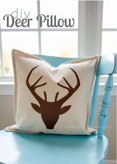 Deer pillow tutorial. Easy DIY and perfect in a woodland or hunting inspired nursery!