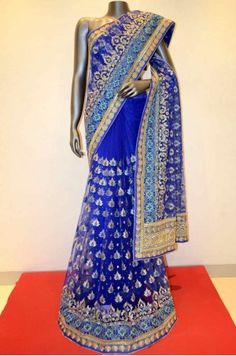 Dark Blue Net Embroidery Saree  Product Code: AB208700