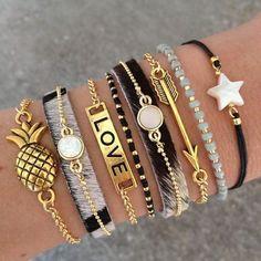 Gold and Black Jewelry | Bracelets | Stacked Bracelets