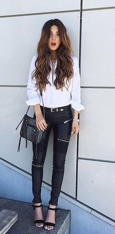 Swap your solid leather pants for ones with moto details.