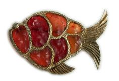 1970s Gold Plate Orange Terricota Red Resin Stained Glass