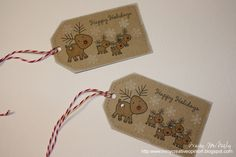 I think you will see from today's tags that I love those cute little reindeer. The reindeer from Tremdous Treats Christmas and Tiny Treats. 25 Days Of Christmas, Christmas Gift Tags, Christmas Treats, Holiday Cards, Christmas Cards, Christmas Stuff, Holiday Decor, Paper Tags, Card Tags