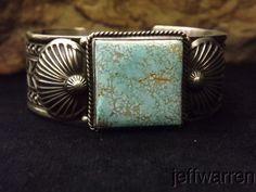 Navajo Darrell Cadman STUNNING #8 Turquoise & Stamped Sterling Silver Bracelet