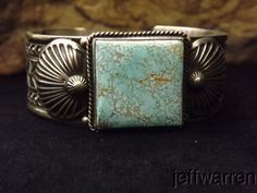 Navajo Darrell Cadman STUNNING #8 Turquoise & Stamped Sterling Silver Bracelet