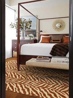 """Stylish Bedroom: design trick, layering from the bed to the floor - Flooring by Shaw in style """"Zybra"""""""
