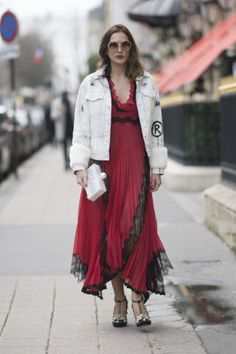Monica Almada seen wearing a Gucci dress and jeans jacket in the streets of Paris on March 2017 in Paris, France. Gucci Dress, Paris Street, Tulle, Bohemian, Street Style, Jeans, Skirts, Jackets, How To Wear