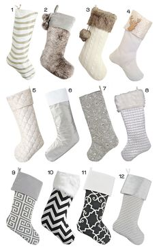 Deck your home with a set of stylish modern, glam or classic stocking to hang from your fireplace.