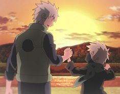 Sakumo and Kakashi. This is so cute, and you can see Kakashi is so happy. Naruto Kakashi, Manga Naruto, Naruto Cute, Gaara, Manga Anime, Uzumaki Boruto, Naruto Wallpaper, Naruto Characters, Anime Characters