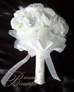 fabric flowers and brooch bouquet
