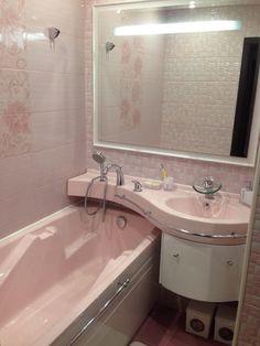 #интерьер ванной комнаты в нежно-розовом цвете - лучший вариант для романтических натур
