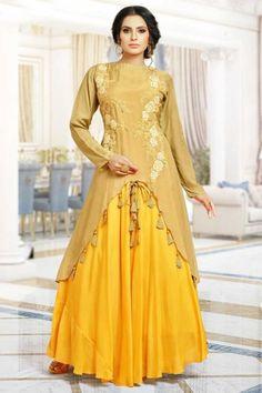 Shop Newarrival Latest Designer Elegant Honey yellow Silk Anarkali gown With Resham Work - DMV12668 for women online Please msg or whatsapp at 0169179180 for order details #Designergown #honeyyellow #like4like #silk #anarkaligown #partywear #womenstyle #fashion #shoppingonline