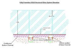 fully frameless glass balustrade elevation