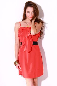 #1015store.com #fashion #style Coral ruffled banded waist party cocktail dress-$11.99