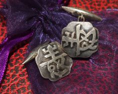 Запонки серебро ИЕРОГЛИФ Азиатский стиль японский Европа