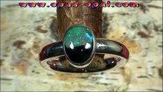 Sterling Silberring mit Black Crystal Opal 0,50 ct und schwarzem Colorit