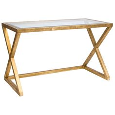 Worlds Away Mark Gold Leafed Desk/Console @Zinc_Door-love the shape of this desk!
