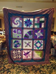 PugMom Quilts!: Purple sampler quilt by Pat at Cape Cod weekend