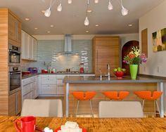 Contemporary Kitchen Natural Stone Tile Design, Pictures, Remodel, Decor and Ideas - page 19