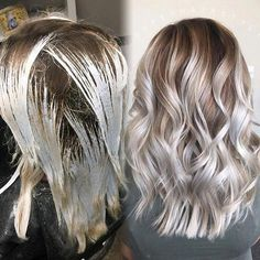 Balayage / medium length hair / blonde hair / high contrast hair color - Hair World Ombre Hair Color, Hair Color Balayage, Cool Hair Color, Blonde Balayage, Hair Highlights, Blonde Hair, Blonde Color, Medium Length Hair Blonde, Color Highlights