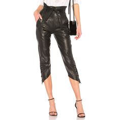 Marissa Webb Aubrie Leather Pant (19.485 UYU) ❤ liked on Polyvore featuring pants, white trousers, white pants, white lace up pants, lace-up leather pants and lace-up pants