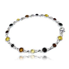 multicolor amber and silver bracelet