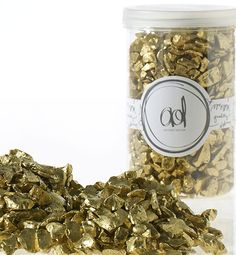 "Gold Crushed Glass Vase Filler LARGE 46oz BULK Container 1/8-1/4"" Pieces"