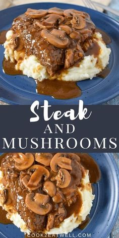 This steak and mushrooms dinner comes together quickly, and it's absolutely delicious. In this recipe, thick sirloin steaks are pan fried until golden and cooked to your liking. Then the pan juices are used as a base to make a flavorful homemade mushroom and onion gravy. #steakandmushrooms #steakandmushroomgravy