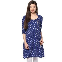 Blue Printed Angrakha Kurti for Rs 699 #onlineshopping http://goo.gl/7G4dS3