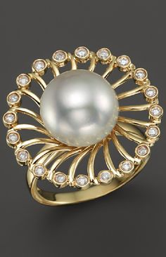14K Yellow Gold Cultured White South Sea Pearl and Diamond Ring
