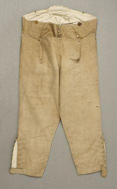 "Metropolitan Museum: pantalones ""breeches"" de EEUU o Europa de 1785-1800 (Inventario: 1976.149.2)"