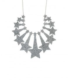 Starburst Statement Necklace - Glitter Silver - Look out of this world with the Starburst Statement Necklace. Inspired by vintage firework packaging, an explosion of stars are captured in glitter silver acrylic. Style with metallics for serious sparkle! Exclusive to Tatty Devine