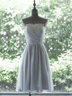 A Line Illusion Neckline Short Silver Chiffon Ruched Party Bridesmaid Dress