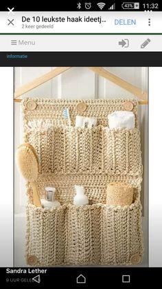 Ravelry: Bathroom Door Organizer crochet pattern by Debra Arch 30 Handy Designs and Craft Ideas to Keep Homes Organized and Neat Bathroom Organizer DIY Crochet Bathroom Door Organizer - instructions in the August 2013 issue of Crochet World. Crochet Diy, Crochet World, Crochet Home, Love Crochet, Crochet Crafts, Crochet Projects, Crochet Ideas, Beautiful Crochet, Ravelry Crochet