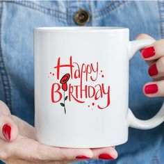 Items similar to Happy Birthday Mug Friend Gift Birthday Present For Friends Best Friend Mug Quotes Birthday Printed Mugs Cup on Etsy Happy Birthday Coffee, Happy Birthday Rose, Birthday Roses, Birthday Cup, Happy Birthday Gifts, Birthday Ideas, Birthday Presents For Friends, Friend Birthday Gifts, Ceramic Coffee Cups